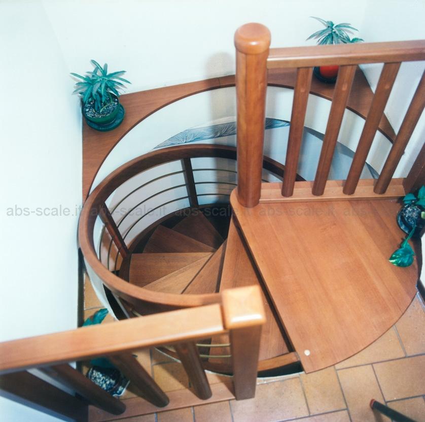 Abs scale scala in legno a chiocciola a pianta tonda con for Pianta esterna