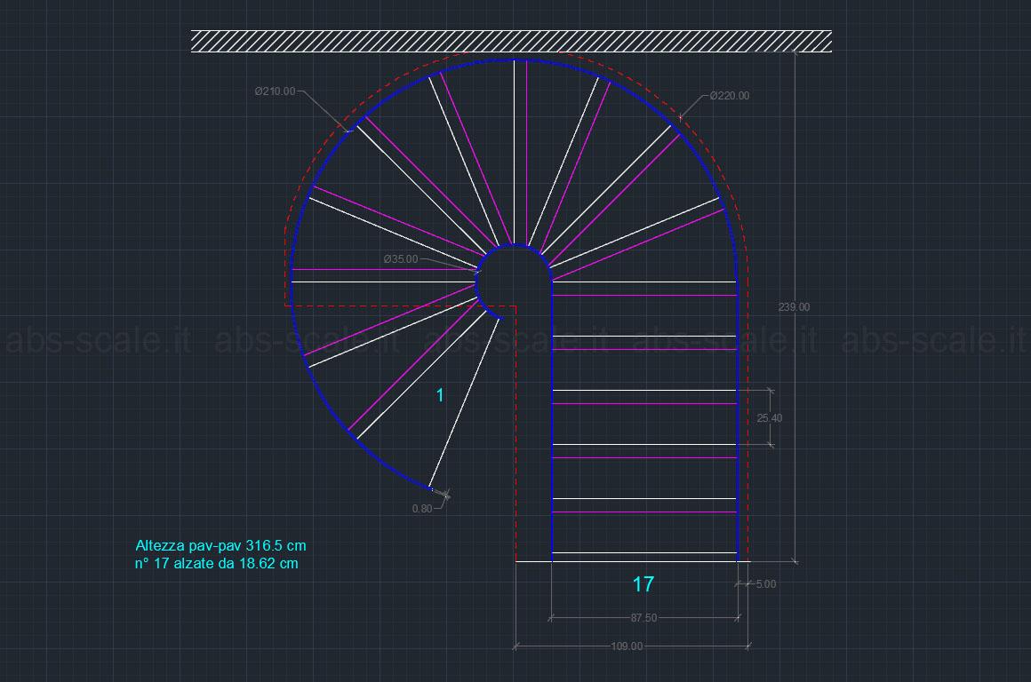 Sotto disegno scala tutte le immagini per la for Scala elicoidale dwg