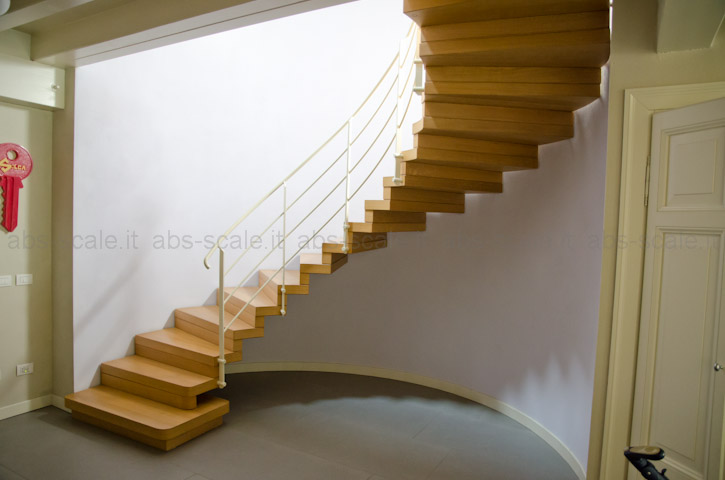 Abs scale scala elicoidale a sbalzo con alzate chiuse for Scala in legno dwg